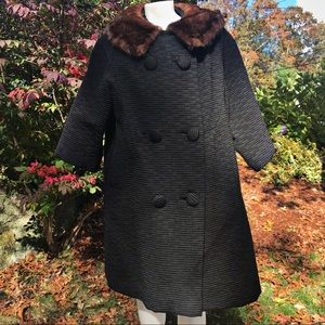 vintage mink collar jacket black women's medium